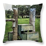 Country Farm Fence Stile Crossing Throw Pillow