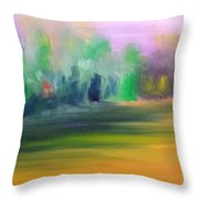Country Field And Trees Throw Pillow