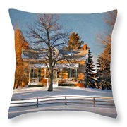 Country Home Oil Throw Pillow