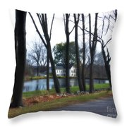 Country Home Through The Trees Throw Pillow