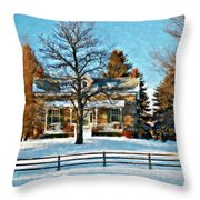 Country Home Watercolor Throw Pillow