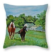 Country Horses Throw Pillow
