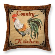 Country Kitchen Rooster Throw Pillow