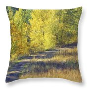 Country Lane Digital Oil Painting Throw Pillow