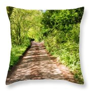 Country Lane Painting Throw Pillow