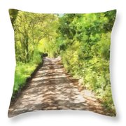 Country Lane Watercolour Throw Pillow