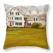 Country Moments-farmhouse In Woodstock Vermont Throw Pillow