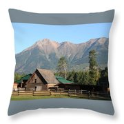 Country Ranch In Mountains Throw Pillow