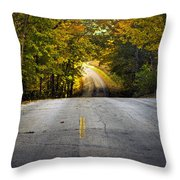Country Road In Fall Throw Pillow