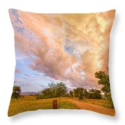 Country Road Into The Storm Front Throw Pillow