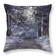 Country Road On A Wintery Night Throw Pillow