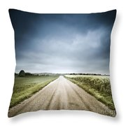 Country Road Through Fields, Denmark Throw Pillow by Evgeny Kuklev
