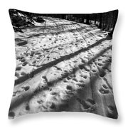 Country Road With Melting Snow In Early Spring Throw Pillow