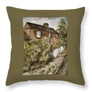 Old English Cottage Throw Pillow