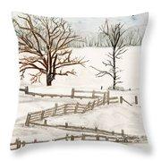 Country Snow Scene Ozaukee County Wisconsin Throw Pillow