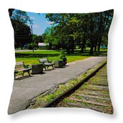 Country Train Station Throw Pillow