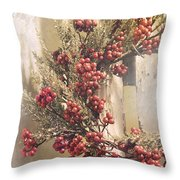 Country Wreath With Red Berries Throw Pillow
