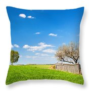 Countryside Landscape During Spring With Solitary Trees And Fence Throw Pillow