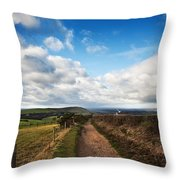 Countryside Landscape Path Leading Through Fields Towards Dramat Throw Pillow by Matthew Gibson