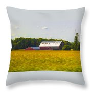 Countryside Landscape With Red Barns Throw Pillow