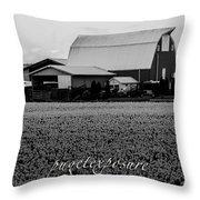 Countryside Tulip Farm Throw Pillow