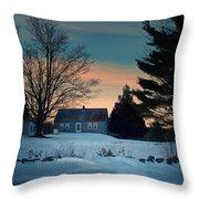 Countryside Winter Evening Throw Pillow