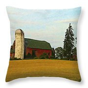 County Barn - Digital Painting Effect Throw Pillow