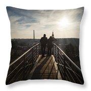 Couple Admiring The Cityscape Throw Pillow