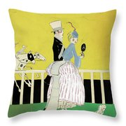 Couple At The Races, 1916 Throw Pillow