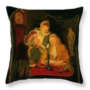 Couple Counting Money By Candlelight, 1779 Panel Throw Pillow