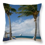 Couple In Hammock On Beach Throw Pillow by Amy Cicconi