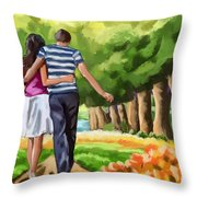 Couple In The Park 01 Throw Pillow