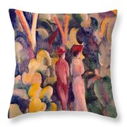 Couple On The Forest Track Throw Pillow