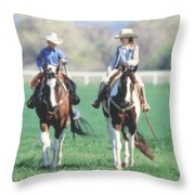 Couple Riding Throw Pillow