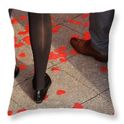 Couple Standing On Rose Petals Throw Pillow