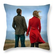 Couple Standing On Windy Moorland Throw Pillow