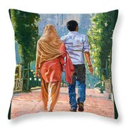 Couple Under The Leafy Arch Throw Pillow