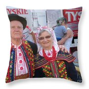 Couples In Polish National Costumes Throw Pillow