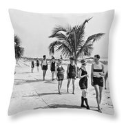Couples Strolling Along The Pathway On The Beach. Throw Pillow