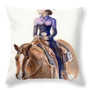 Horse Painting Cowgirl Courage Throw Pillow