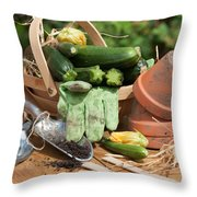 Courgette Basket With Garden Tools Throw Pillow