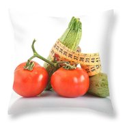 Courgettes And Tomatoes Throw Pillow
