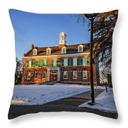 Court House In Winter Time Throw Pillow
