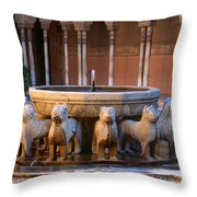 Court Of The Lions In The Alhambra Throw Pillow