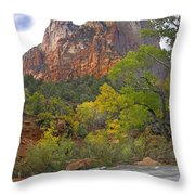 Court Of The Patriarchs Zion Np Utah Throw Pillow by Tim Fitzharris