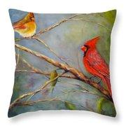 Courting Cardinals, Birds Throw Pillow