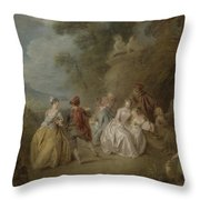 Courtly Scene In A Park, C.1730-35 Throw Pillow