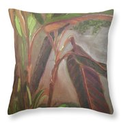 Courtyard Bananas Throw Pillow