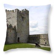 Courtyard Cahir Castle Throw Pillow