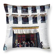 Courtyard Entry To Potala Palace In Lhasa-tibet Throw Pillow